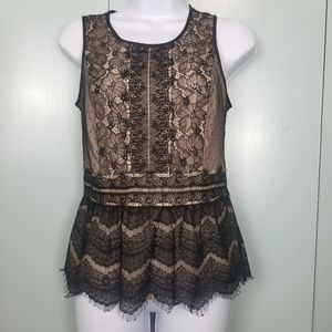 LOFT peplum sleeveless black lace top size XS